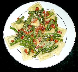 Asparagus and Pepper Saute with Ravioli