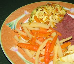 Glazed Corned Beef, Carrots, Parsnips, and Cabbage